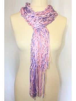 foulard maille filet rose polyester