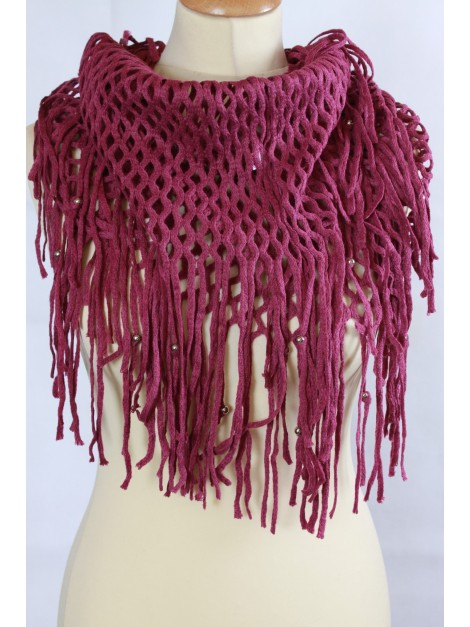 Echarpe Snood Grandes Franges Fuschia