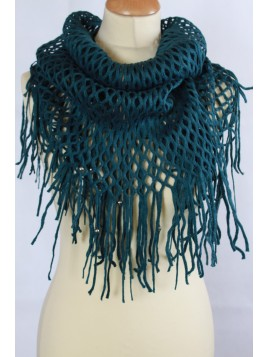 Echarpe Snood Grandes Franges Verte