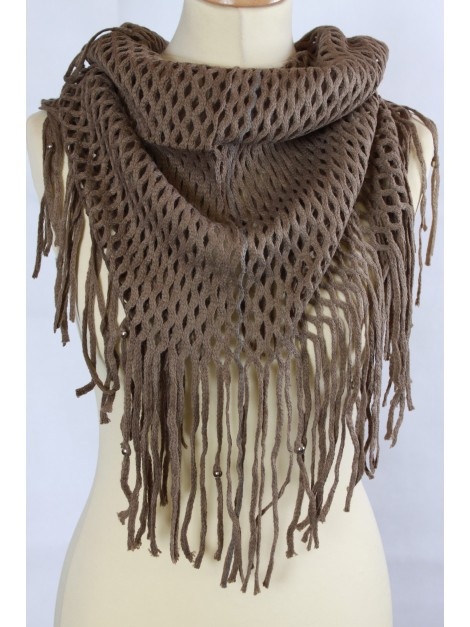 Echarpe Snood Grandes Franges Beige