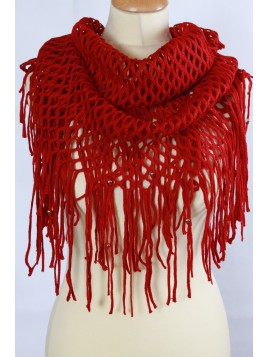 Echarpe Snood Grandes Franges Bordeaux