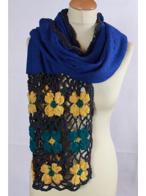 Echarpe Crochet bleue