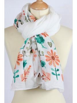 Chèche Brodé Fleurs Blanc