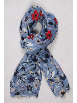 Chèche Brodé Fleurs Bleu Ciel