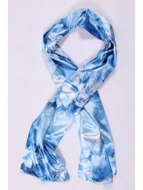 Foulard maille filet bleu turquoise